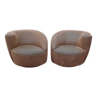 Vintage Vladimir Kagan Style Brown Suede Swivel Club Chairs - A Pair