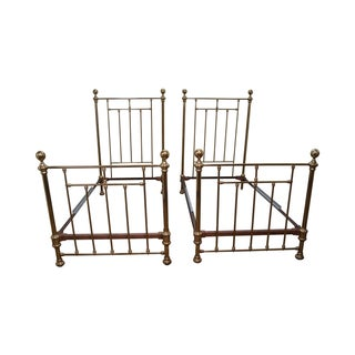 Victorian Style Vintage Brass Twin Beds - Pair