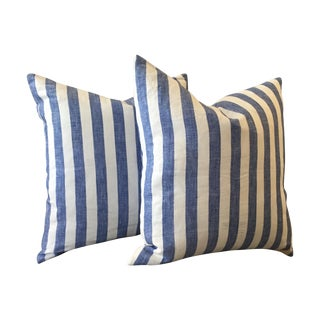 Blue Striped Linen Pillows - A Pair