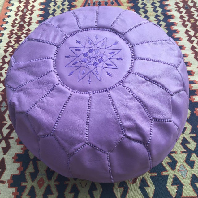 Traditional Purple Leather Pouf - Image 3 of 4