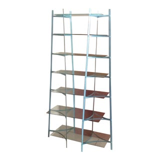 Mid-Century Industrial Metal Glass Shelving Unit