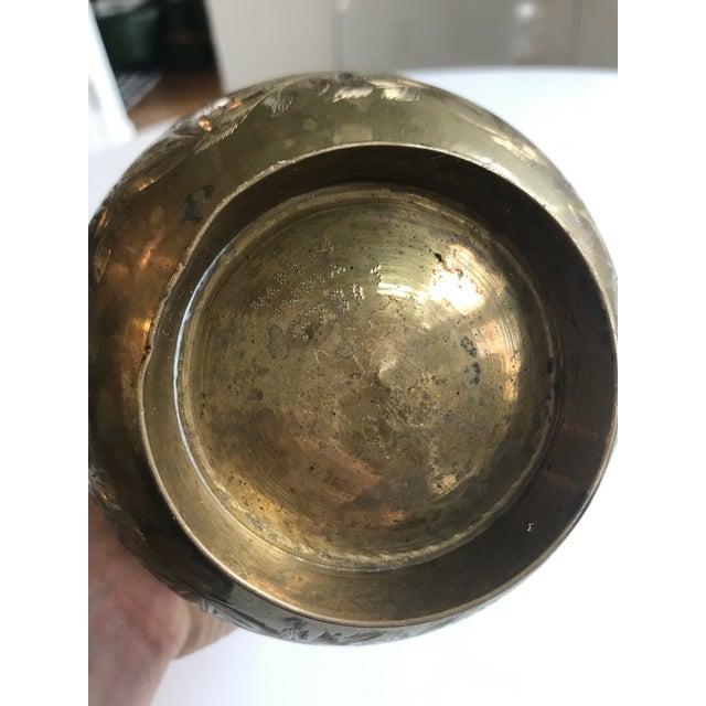 Vintage Brass Etched Vase - Image 4 of 4