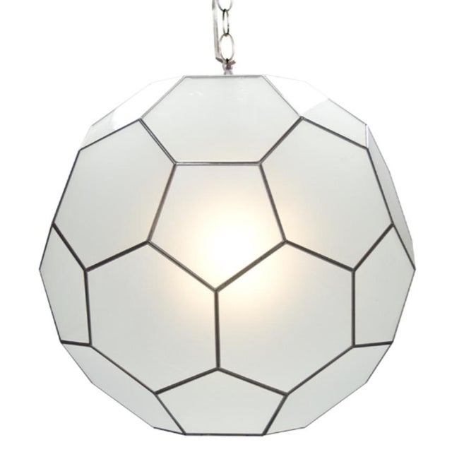 Frosted Glass Pendants - A Pair - Image 1 of 2