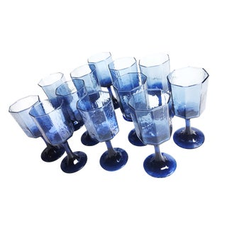 Vintage Cobalt Blue Stemmed Wine Glasses - Set of 12