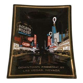 Mid-Century Las Vegas Commemorative Smoked Glass Tray