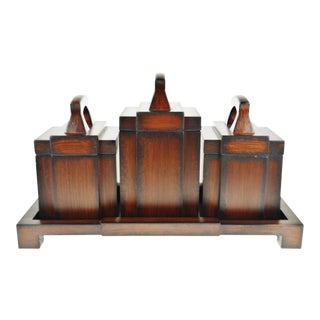 Vintage Lidded Box Set with Tray