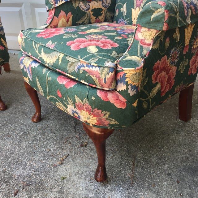 Image of Green & Blue Floral Upholstered Wingback Flare Chairs- A Pair