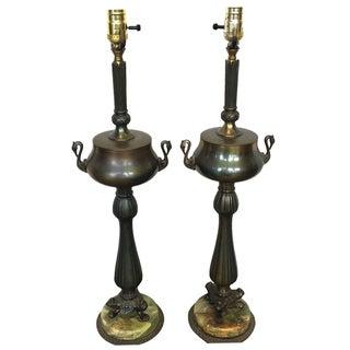 Regency Revival Brass Urn Lamps - A Pair