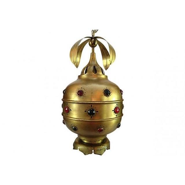 Midcentury Moroccan Brass Pendant Light - Image 1 of 10