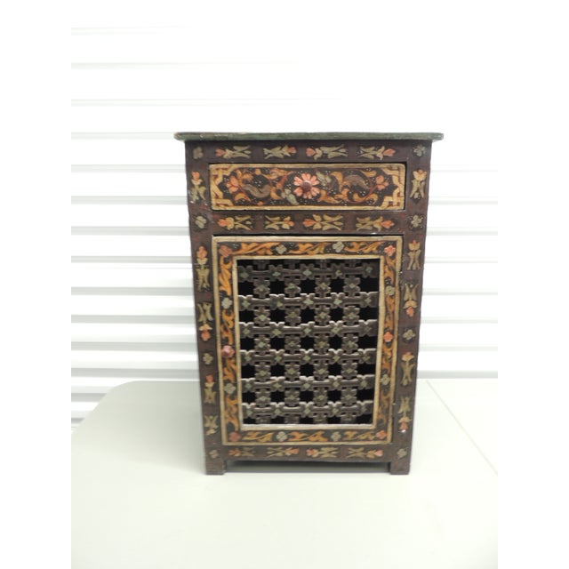 Black Hand painted vintage Indian night stand with Drawer - Image 2 of 5