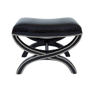 Custom Black Faux Crocodile Tabouret