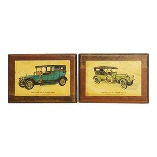 Wooden Rolls Royce & Pierce Arrow Plaques - A Pair