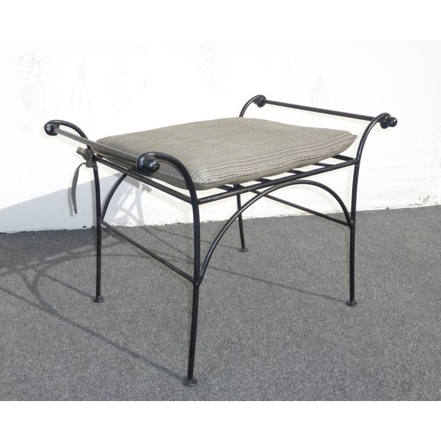 Vintage Wrought Iron Vanity Bench, Flared Arms - Image 4 of 8
