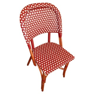 Piotioux Woven Rattan Red & Cream Side Chairs - 2