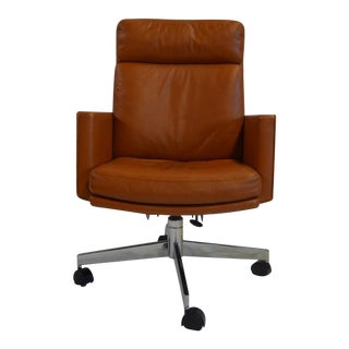 Vintage Stow Davis Leather Rolling Office Chair