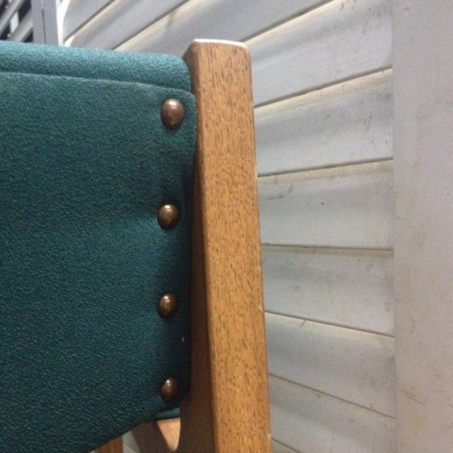 Teal Mid-Century Modern Arm Chairs - Set of 4 - Image 6 of 6