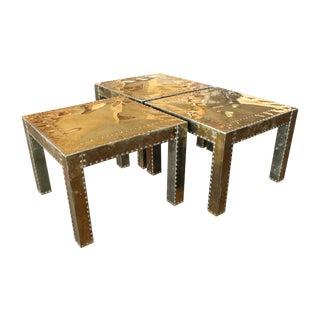 Brass-Clad Sarreid Style Tables - Set 3