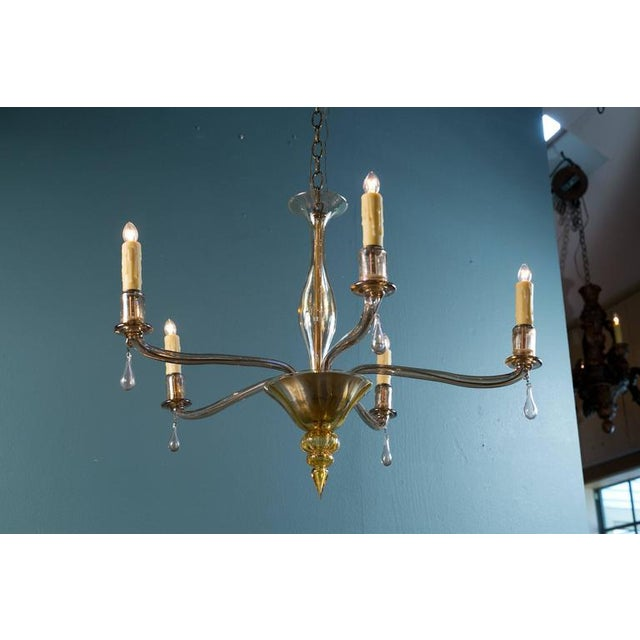 Image of Mid-Century Modern Amber Colored Murano Glass Chandelier in the Style of Venini