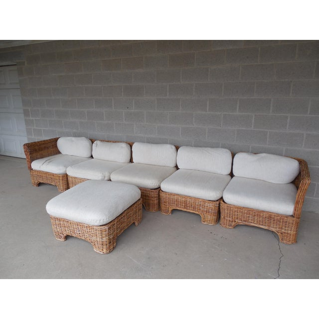 Vintage Wicker Sectional Patio Seating Set - Set of 6 - Image 3 of 8