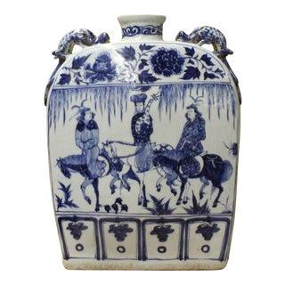 Chinese Blue White Porcelain People Scenery Rectangular Flat Flask Vase