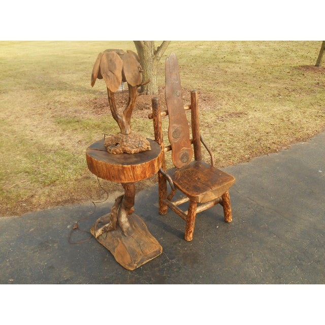 Antique Rustic Burl Wood Throne Chair - Image 6 of 6