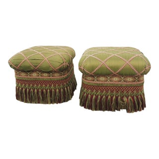 Vintage Fringe Ottomans with Long Tassels and Trims - a Pair