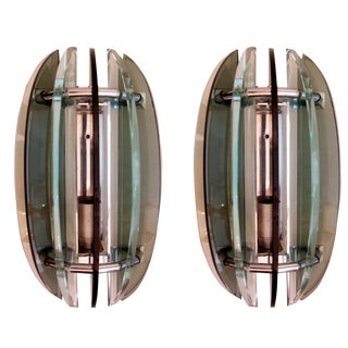 Vintage Fontana Arte Style Chrome Sconces- A Pair