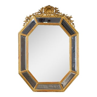 Louis XVI Style Gold Leaf Antique French Pareclose Mirror circa 1880 (28″ wide x 38 1/2″ high)