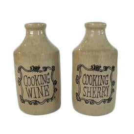 Vintage Stoneware Crock Cooking Wine & Sherry Bottles - A Pair