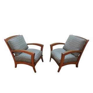 Lane Venture Teak Patio Lounge Chairs - A Pair