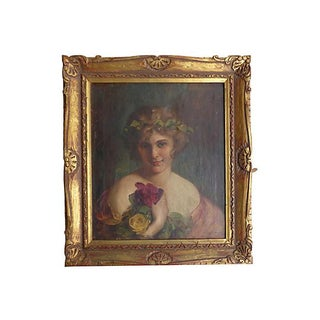Vintage Oil Painting of a Girl in Giltwood Frame