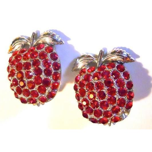Image of Candy Apple Red Rhinestone Clip Earrings 1960s