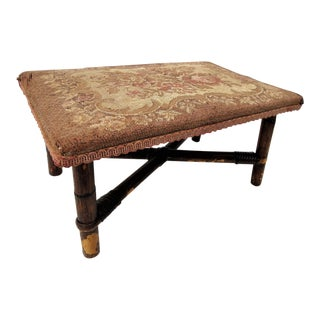 Antique Bamboo & Tapestry Foot Stool