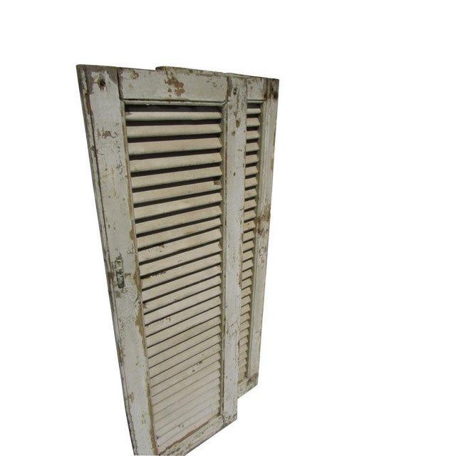 Rustic White European Louvered Shutters - A Pair - Image 2 of 5