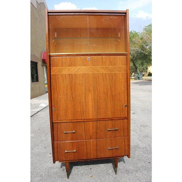 french art deco exotic walnut secretary chairish. Black Bedroom Furniture Sets. Home Design Ideas