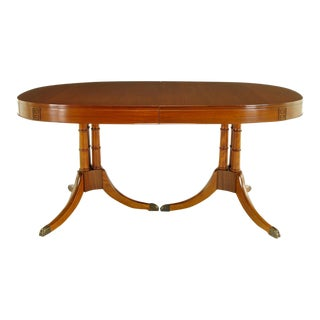 Double Pedestal Sheraton Style Mahogany Dining Table