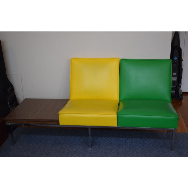Modern Two-Tone Loveseat & Attached End Table - Image 2 of 7