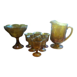 Indiana Glass Amber Colony Grape and Leaf Carnival Glasses - 8 Piece Set