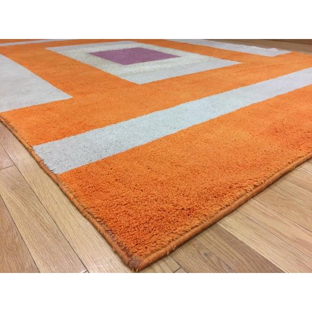 Vintage Belgian Geometric Pop Art Orange Elementa 80 Wool Rug - 6′6″ × 9′10″ - Image 5 of 8