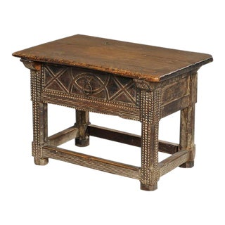 Spanish Carved Oak and Walnut Table