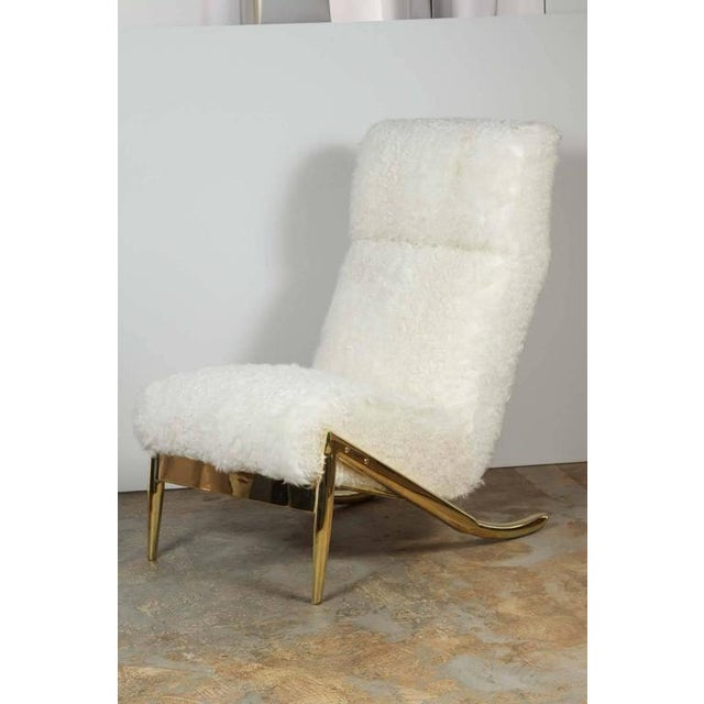 Paul Marra Slipper Chair in Brass with Curly Goat - Image 2 of 7