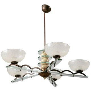 Circa 1940s Paolo Buffa Style Five Light Chandelier