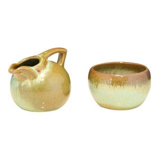 Frankoma Pottery Prairie Green Sugar & Creamer - A Pair