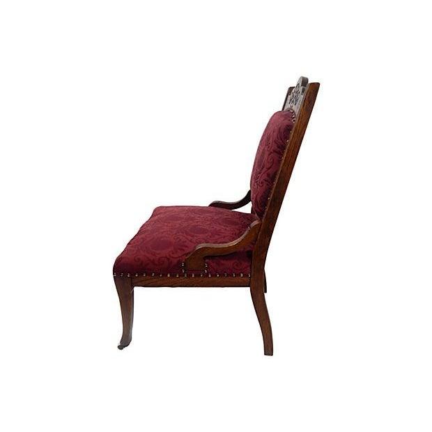 Oak Merlot Burgandy Side Chair - Image 2 of 5