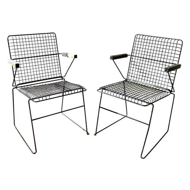John Keal Style Modern Patio Iron Armchairs - Image 1 of 5