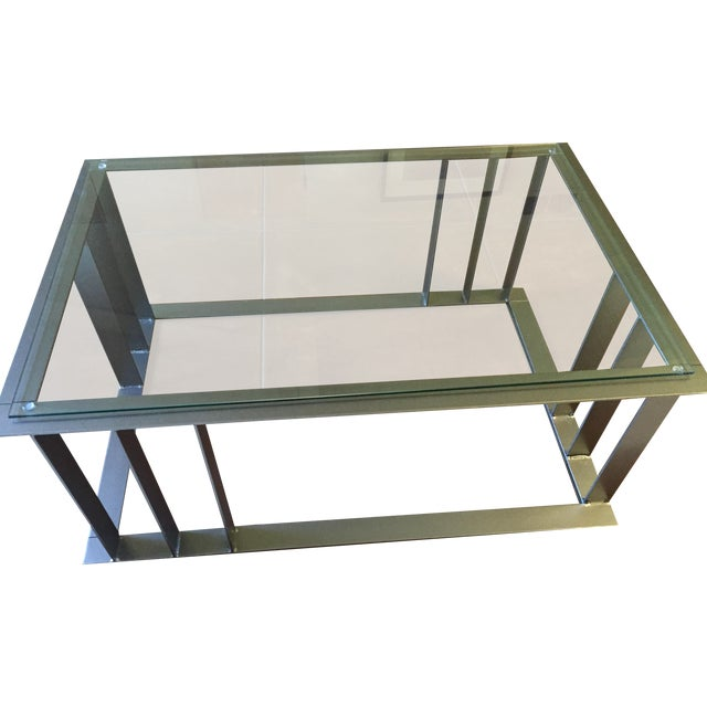 Offset Corner Steel & Glass Coffee Table - Image 1 of 4