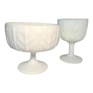 Vintage Slag Glass Goblet & Vase Pair