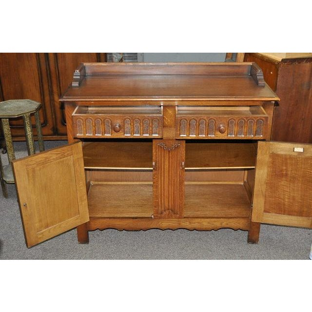 Image of Jacobean Style English Oak Console Cabinet