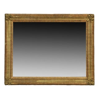19th Century French Gilt Wood Wall Mirror With Floral Details