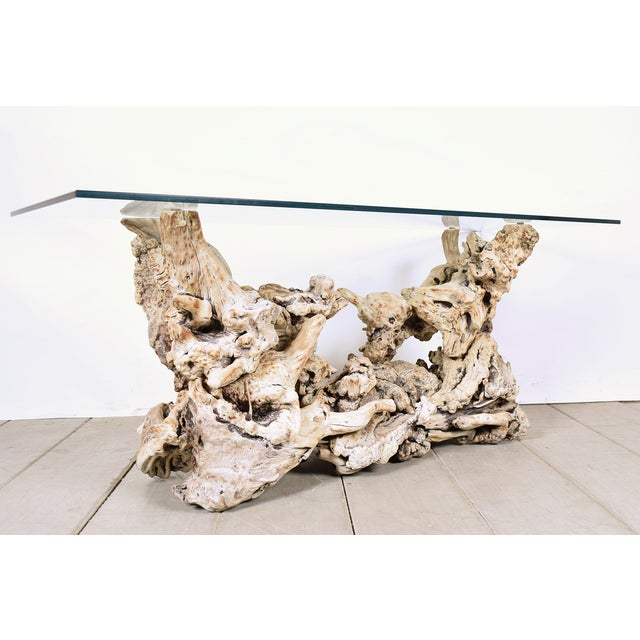 Vintage Tree Root Console Table W/Glass Top - Image 2 of 8